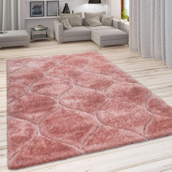 Wohnzimmer Teppich Rosa Pink Weich Hochflor Shaggy Flauschig 3-D Wellen Muster