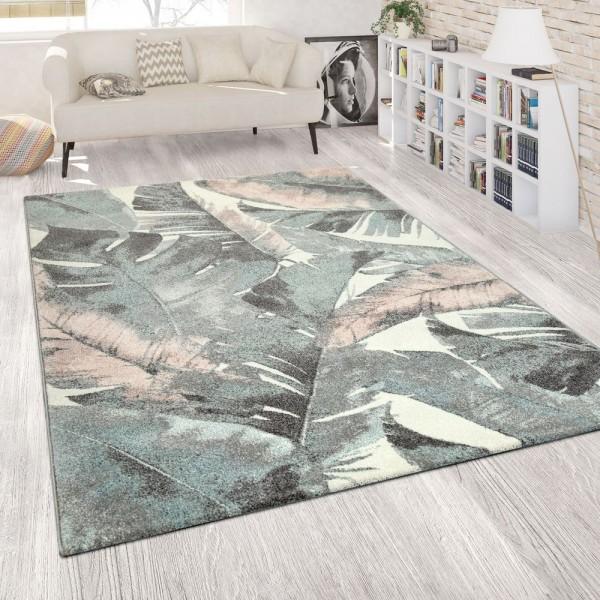 Wohnzimmer Teppich Kurzflor Grün Rosa Bunt Pastellfarben Blumen Palmen Design