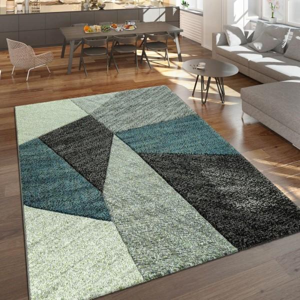Designer Teppich Moderner Kurzflor Strick Optik Geomterische Muster Grau Blau