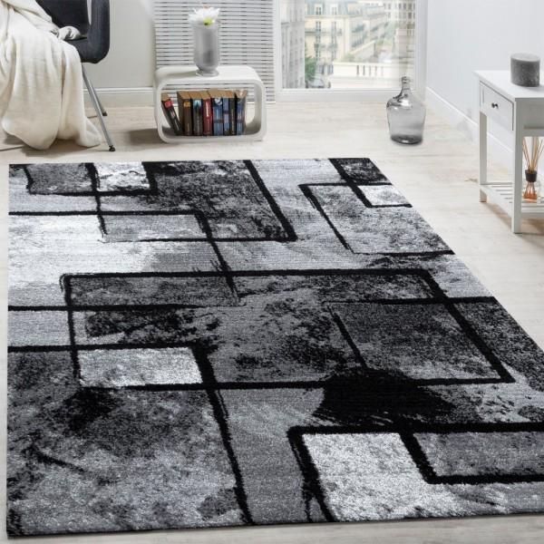 Designer Teppich Modern Kurzflor Abstrakt Gemälde Optik Schwarz Grau Anthrazit