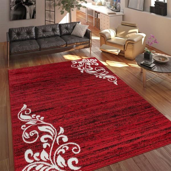 Teppich Wohnzimmer Modern Kurzflor Mehrfarbig Muster Floral Ornament Rot