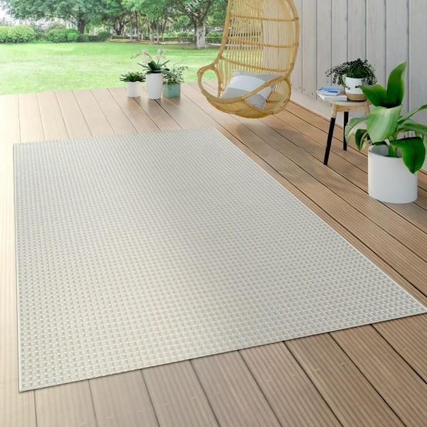 In- & Outdoor Flachgewebe Teppich Sisal Optik Natürlicher Look Einfarbig Weiß