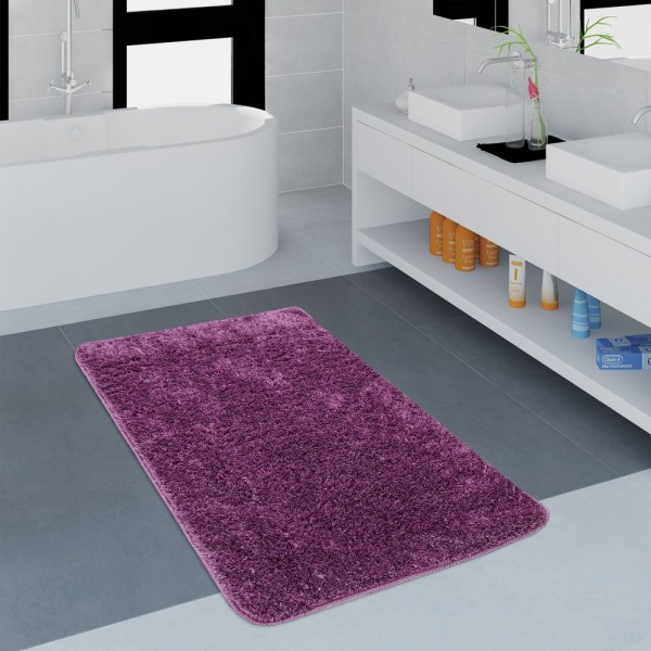 Moderner Badezimmer Teppich Einfarbig Microfaser Kuschelig Gemütlich In Lila