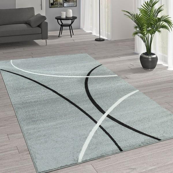 Kurzflor Wohnzimmer Teppich Trendige Moderne Linien Muster In Grau Schwarz Weiß