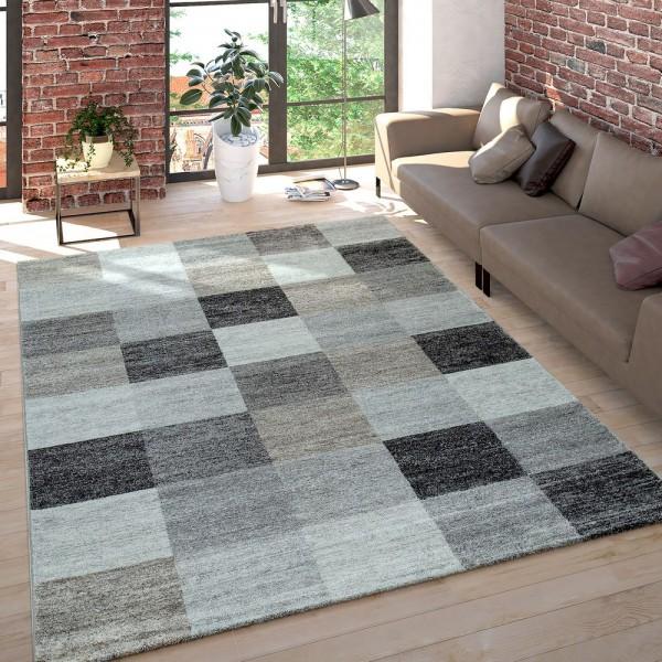 Wohnzimmer Teppich Kurzflor Meliert Mehrfarbiges Design Kariert in Grau Beige