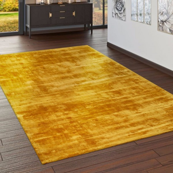 Teppich Handgefertigt Hochwertig 100 % Viskose Vintage Trend Farbe Gelb