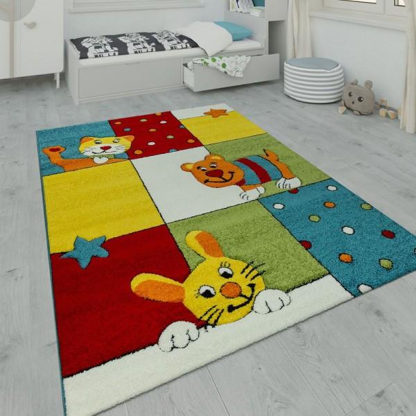 Kinderteppich Spielzimmer Hund Katze Hase Multicolor