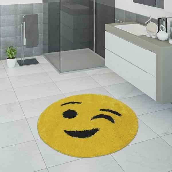 Badematte, Kurzflor-Teppich Für Badezimmer Mit Zwinkerndem Smiley, In Gelb