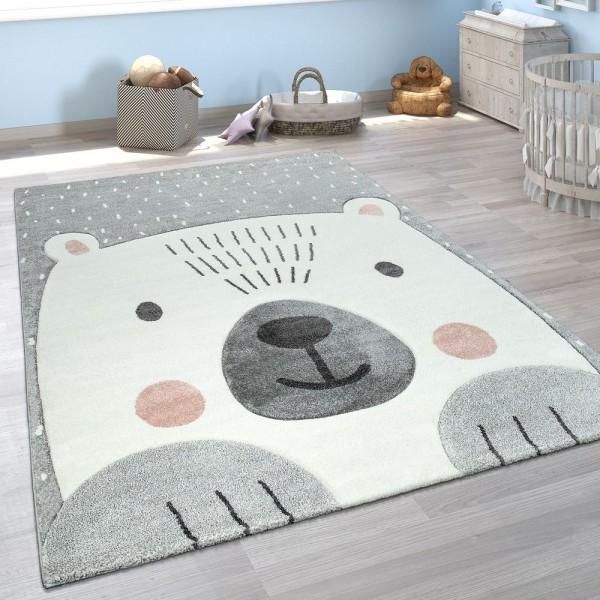 Kinderzimmer Spiel Kinder Teppich Grau Weiß Bär Motiv 3-D Design Kurzflor Weich