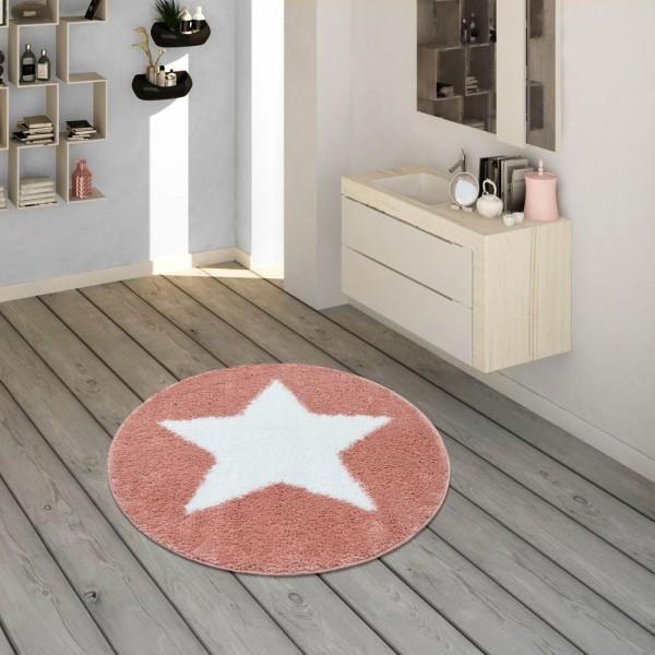 Badematte, Runder Kurzflor-Teppich Für Badezimmer Mit Sternen-Motiv In Pink Rosa