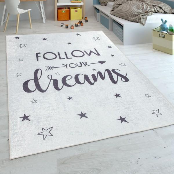 Kinderteppich, Flachgewebe Für Kinderzimmer, Mit Spruch-Motiv Und Sternen, Weiß