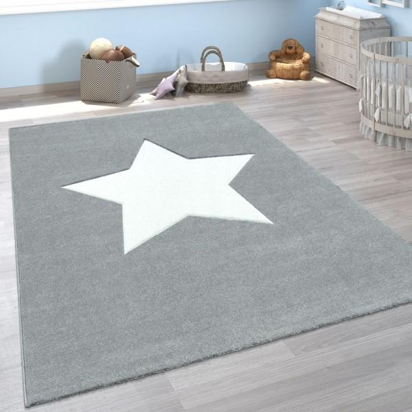 Kinder-Teppich, Moderner Spiel-Teppich Für Kinderzimmer, Mit Stern-Motiv In Grau