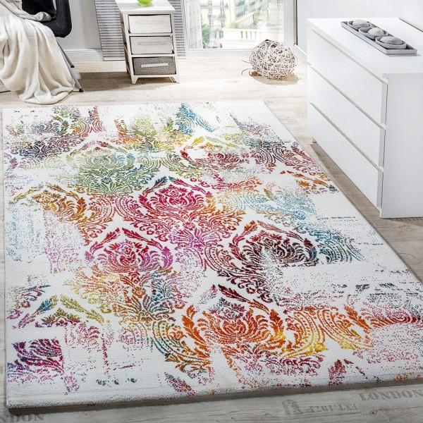 Teppich Modern Leinwand Optik Teppich Floral Ornament Muster Bunt Creme Türkis