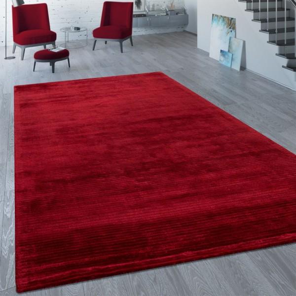 Vintage Viscoseteppich Unifarben Rot