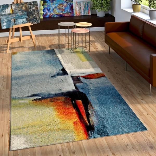Designer Teppich Wohzimmer Ölgemälde Stil Hoch Tief Optik In Blau Gelb Rot Weiß