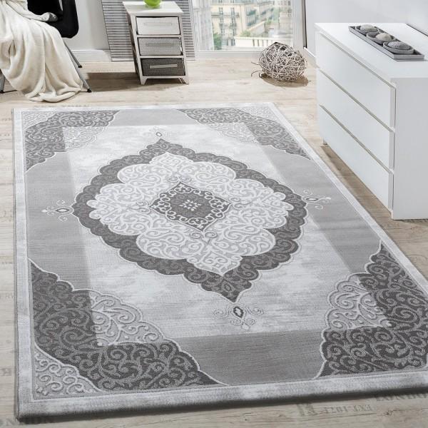 Teppich Wohnzimmer Klassisch Ornament Abstrakt Design Meliert Grau Anthrazit