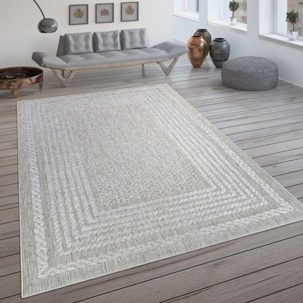 In- & Outdoor-Teppich, Flachgewebe Mit Skandi-Design Und Sisal-Optik In Cream