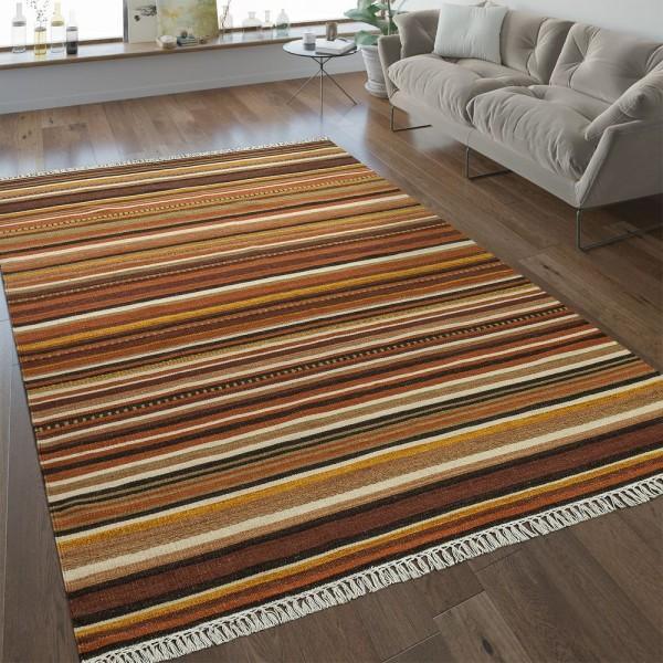 Nomaden Teppich Streifen Orientalisch Braun