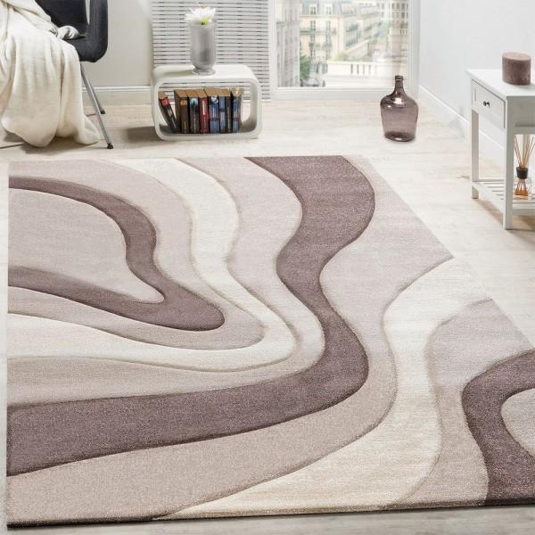 Teppich Modern Wohnzimmer Kurzflor Wellen Design Beige Creme Braun AUSVERKAUF