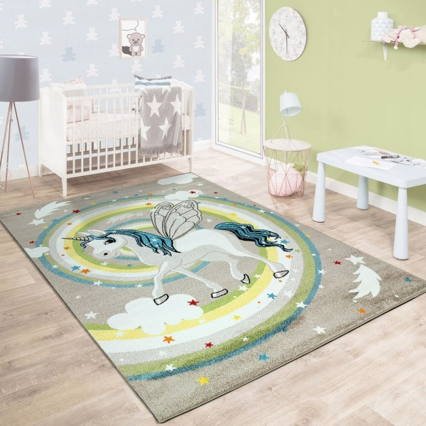 Kinderteppich Kinderzimmer Fliegendes Einhorn Regenbogen Sterne Mädchen In Beige