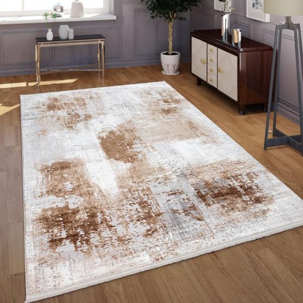Wohnzimmer-Teppich, Kurzflor-Teppich Mit Modernem Beton-Design, In Grau Beige