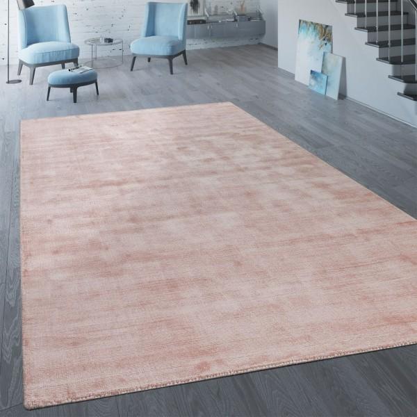 Handgefertigter Vintage Teppich Einfarbig Rosa