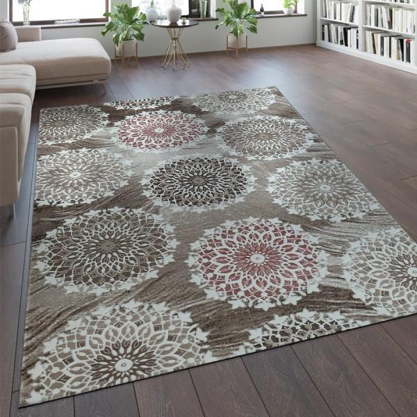 Designer Teppich Mandala Muster Rosa
