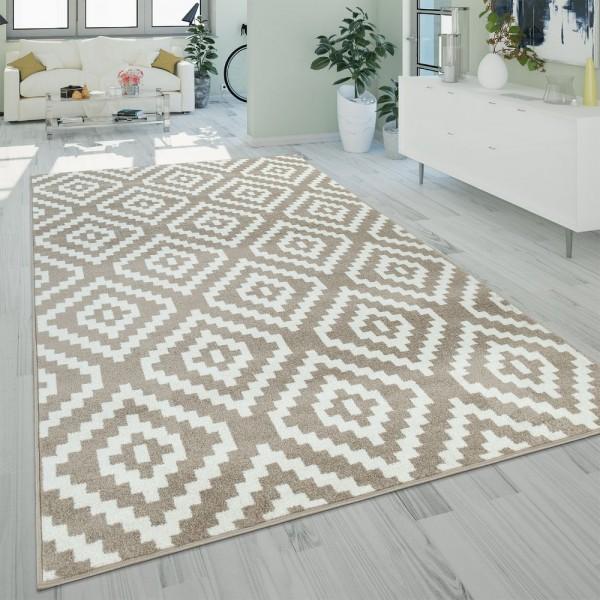 Teppich Beige Weiß Wohnzimmer Flauschig Ethno Rauten Design Robust Kurzflor