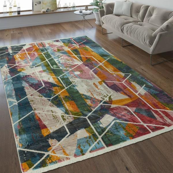 Designer Teppich Geometrische Muster Multicolor