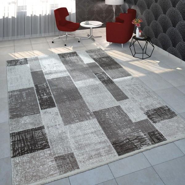 Wohnzimmer-Teppich Meliert Mit Karo-Muster Kariert Kurzflor in Grau Anthrazit