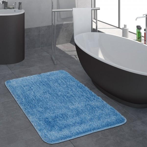 Moderner Hochflor Badezimmer Teppich Einfarbig Badematte Rutschfest In Blau