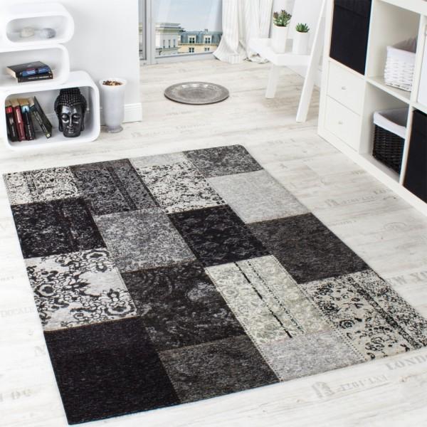Vintage Teppich -Antik- Trendiger Patchwork Stil Designer Teppich in Grau