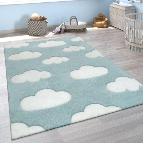 Kinderzimmer Kinderteppich Blau Weiß Pastellfarben Wolken Muster Kurzflor Weich