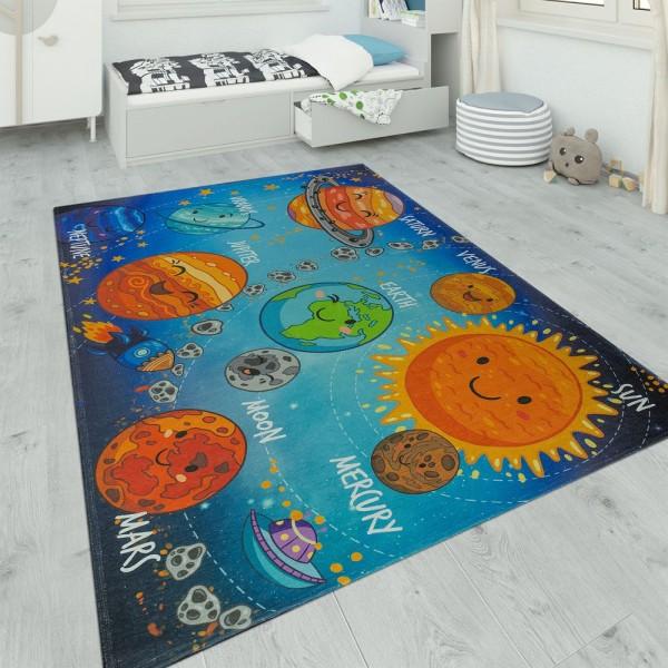 Kinderteppich Spielzimmer Planeten Design Blau