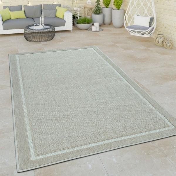In- & Outdoor-Teppich, Flachgewebe Mit Bordüre Für Balkon Und Terrasse in Beige