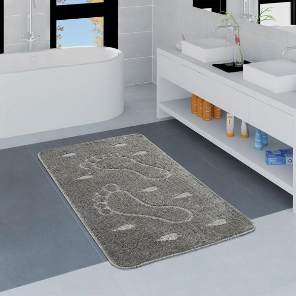 Moderner Badezimmer Teppich Rutschfest Badvorlerger Fußabdruck Einfarbig In Grau