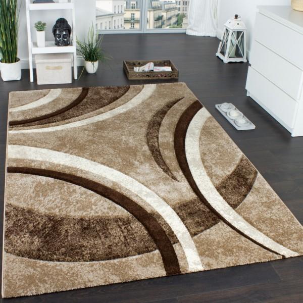 Designer Teppich mit Konturenschnitt Muster Gestreift Braun Beige Creme Meliert