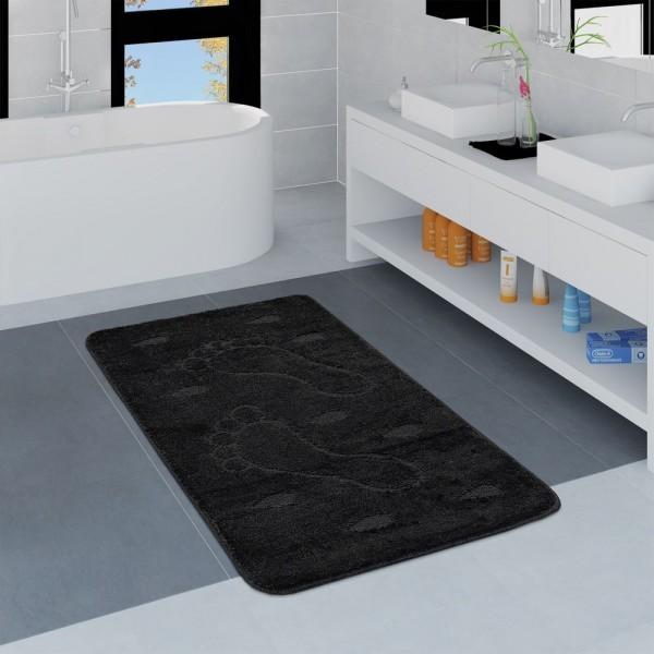 Moderner Badezimmer Teppich Rutschfest Badvorlerger Fußabdruck Einfarbig Schwarz