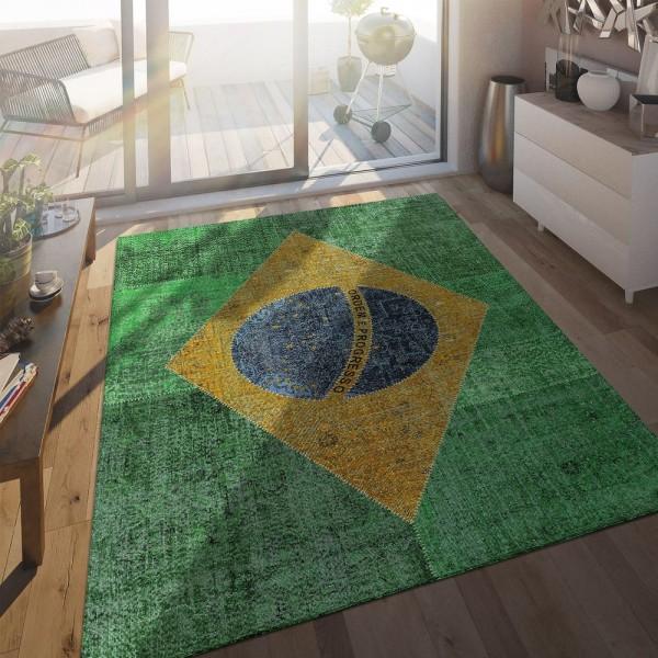 Flachgewebe Teppich Brasilianische Flagge