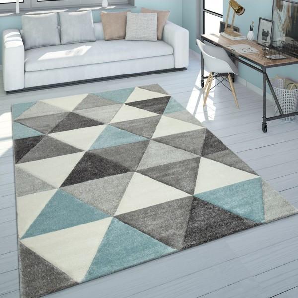 Kurzflor Teppich Wohnzimmer Türkis Grau Pastellfarben Rauten Dreieck Design