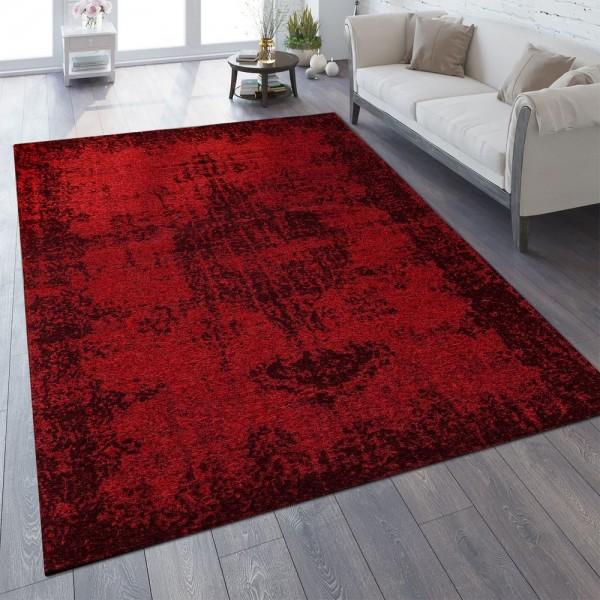 Vintage Teppich Verwaschene Optik Rot