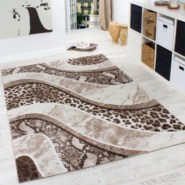 Edler Designer Teppich in Leoparden Schlangen Muster Braun Beige Creme Meliert