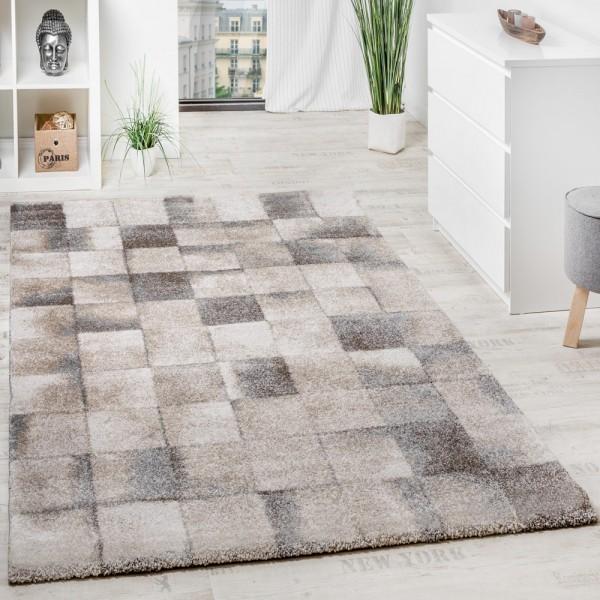 Teppich Meliert Modern Webteppich Klein Kariert Hochwertig In Beige Grau Creme