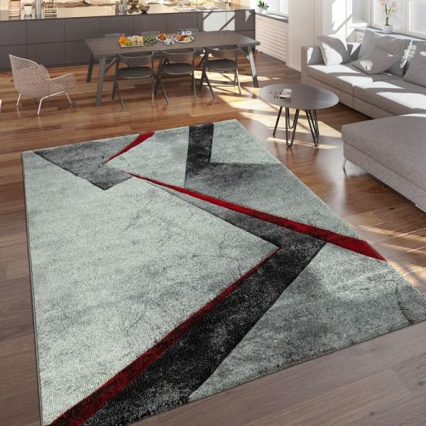 Designer Teppich Moderner Kurzflor Marmor Optik Geomterische Muster Grau Rot