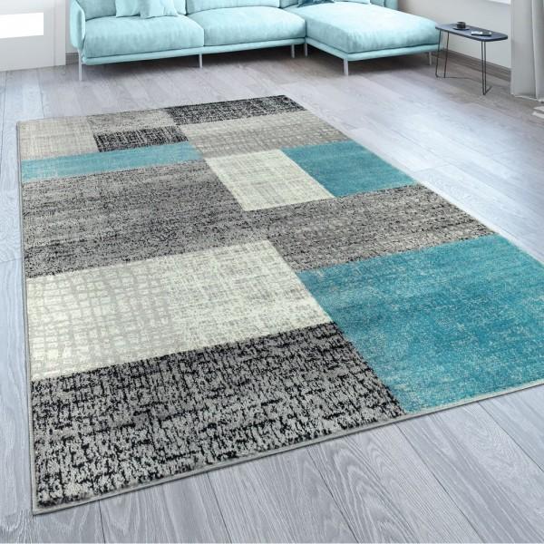 Designer Wohnzimmer Teppich Modern Kurzflor Karo Design Türkis Grau Weiß