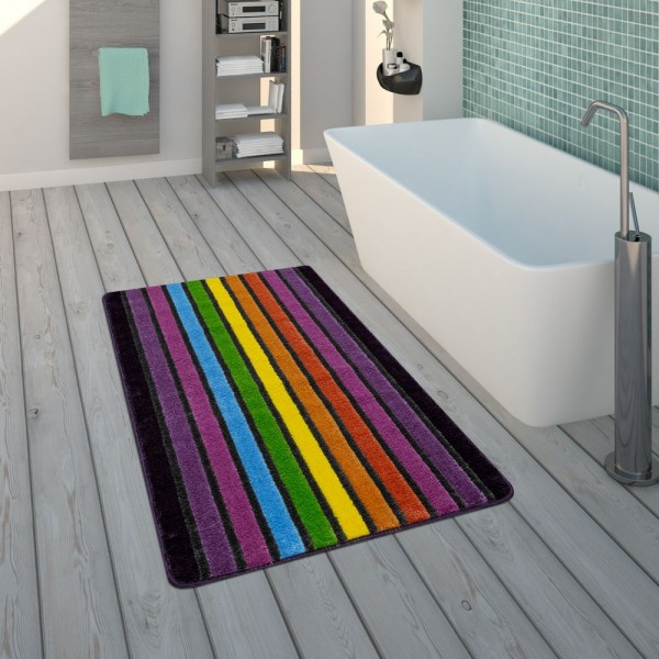 Badematte, Kurzflor-Teppich Für Badezimmer Mit Streifen-Design, 3-D-Look In Bunt