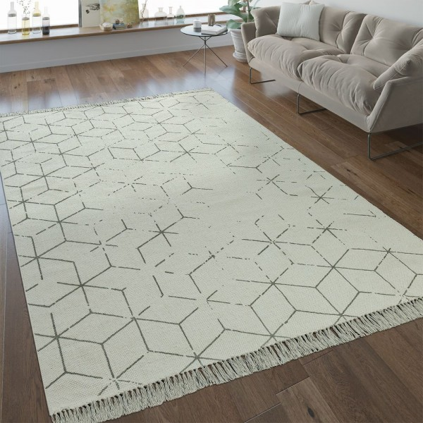 Flachgewebe Teppich Gitter Muster Grau