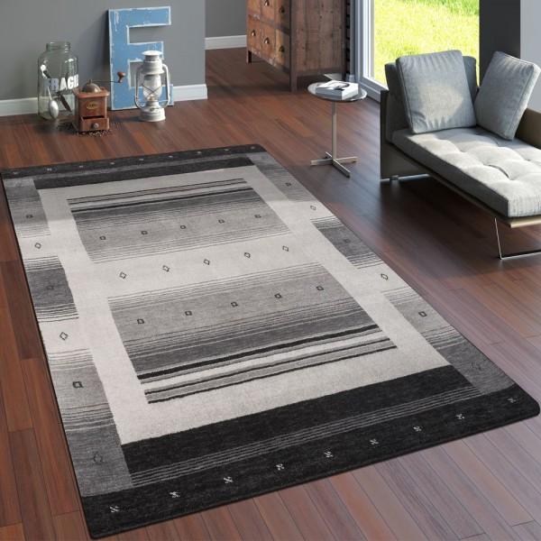 Teppich Handgewebt Gabbeh Hochwertig 100% Wolle Neu Meliert Bordüre Hellgrau