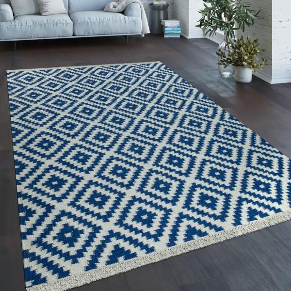 Teppich Modern Marokkanische Muster Handgewebt Skandi Rauten Fransen Blau Weiß