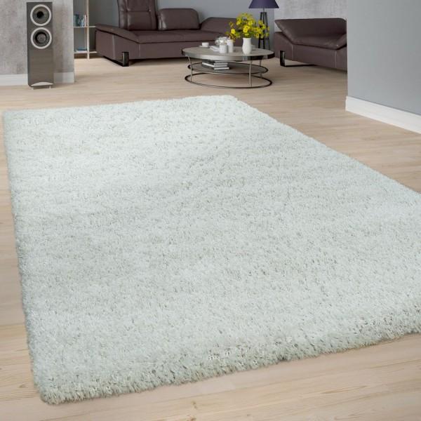 Hochflor Teppich Wohnzimmer Weiß Soft Weich Shaggy Robust Flauschig Kuschelig